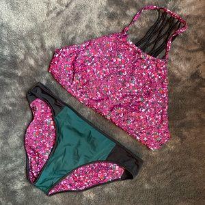 Lulu Lemon multi-color reversible bikini